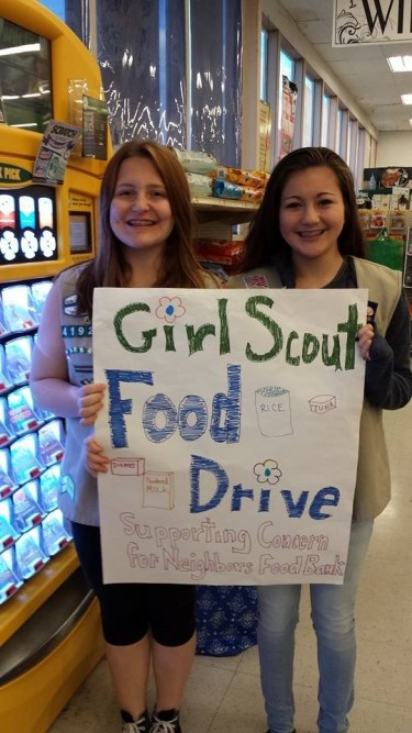 Girl Scouts at last year's food drive.
