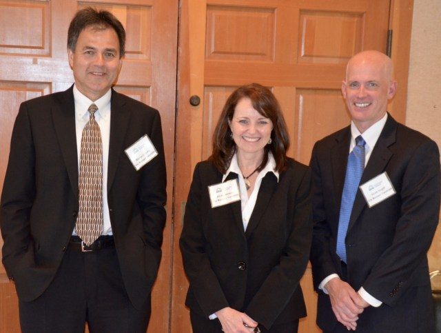 The three finalists for Mountlake Terrace City Manager position met the public during a reception at the Ballinger Lake Clubhouse Friday night. From left, they are Richard Leahy, former city manager of Woodinville; Jill Anderson, city manager of Riverbank, Calif. and Scott Hugill, current interim city manager for Mountlake Terrace. Each of the three candidates gave brief remarks stating why they they would be the best fit for the job. The City Council will conduct final interviews at a special meeting on Saturday and could make a decision as early as Saturday following the final interviews.