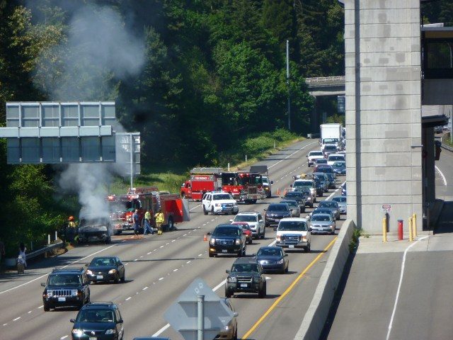 A reader sent along this photo of a car fire on Interstate 5 near the Mountlake Terrace Transit Center Wednesday afternoon.
