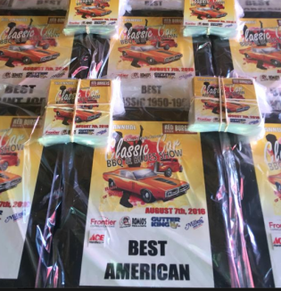 Awards for the car show. (Photo courtesy the Red Onion Burgers Facebook page)