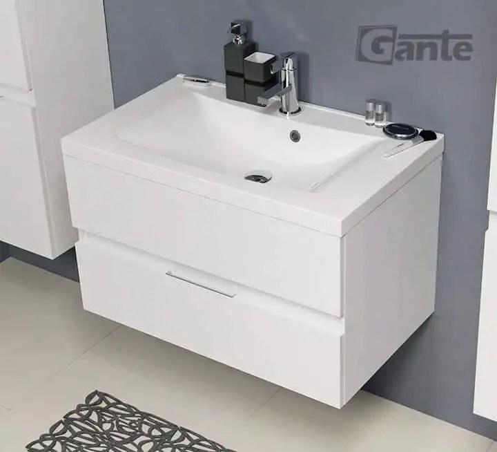 Vanity Unit ELEGANTE 80cm + Basin LUCIA 80cm White - bathroomfurniture