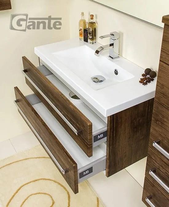 Vanity Unit Focus 80cm/2 + Basin CLEVER 80cm Antique Wood - bathroomfurniture
