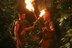 """Jack and Locke discuss destiny on the way to the Hatch. From the episode """"Exodus Part 2."""""""