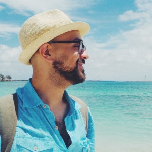 M. Lucero at Junkanoo Beach.