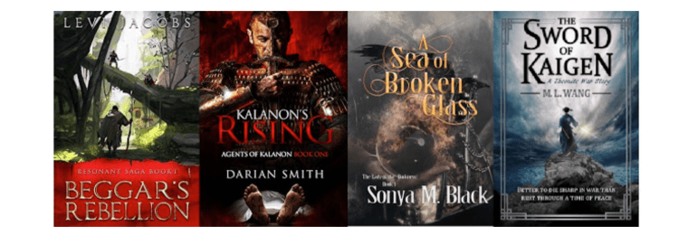 SPFBO 5 Finals Book Covers (Beggar's Rebellion by Levi Jacobs, Kalanon's Rising by Darian Smith, A Sea of Broken Glass by Sonya M. Black, The Sword of Kaigen by M. L. Wang)