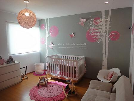 Habitacin de beb para nia  Decoracin