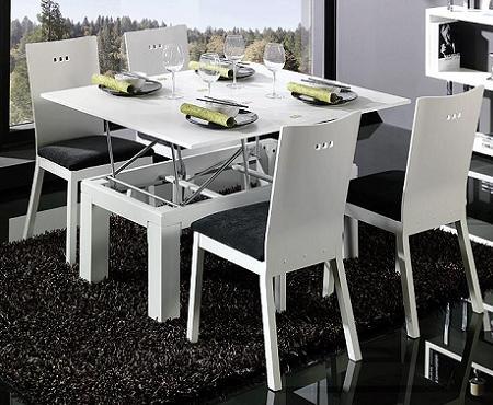 Mesa de centro que se convierte en mesa de comedor