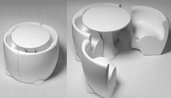 Conjunto mesa y sillas de diseo futurista  Decoracin