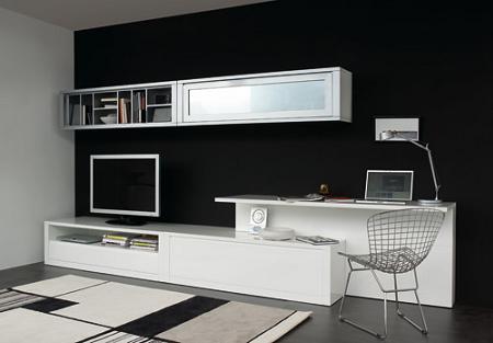Mueble Salon Negro Y Madera