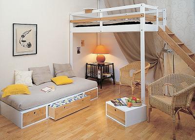 Ahorra espacio en tu cuarto con una cama alta  Decoracin