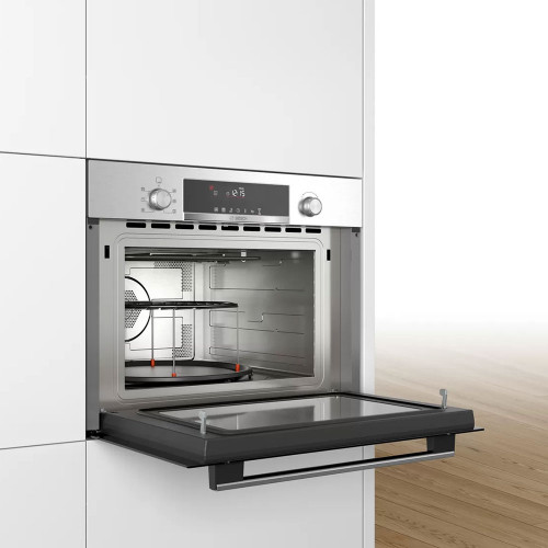 bosch serie 6 built in microwave oven with hot air 60 x 45 cm stainless steel 44 litre