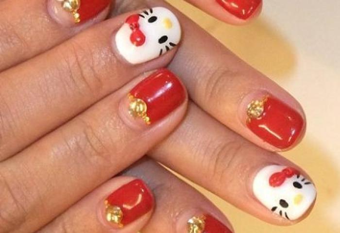 Uñas Hello Kitty De Gel