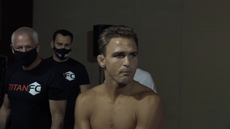 Danny Sabatello prepares to enter the Titan FC cage.