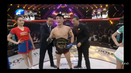 Aoriqileng gets the WLF Bantamweight Championship attached to his waist