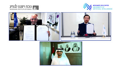 H.E. Dr. Sultan Ahmed Al Jaber, UAE Minister of Industry and Advanced Technology and Chairman of the MBZUAI Board of Trustees, Professor Eric Xing, President of MBZUAI, and Professor Alon Chen, President of Weizmann Institute of Science.