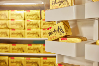 "The butter product ""Westgold"" is displayed on the shelf."