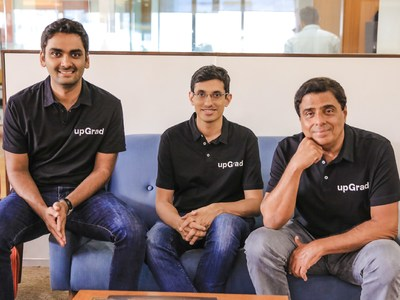(L-R) Phalgun Kompalli - Co-founder; Mayank Kumar - Co-founder, MD and Ronnie Screwvala - Chairman, Co-founder upGrad