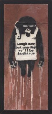 班克斯Banksy - 《笑在當下 層板A》,2002年作   噴漆 乳膠漆 石膏板,178.5 x 74 公分   估價:22,000,000 – 32,000,000港元