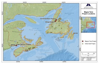 Exhibit A: Magna Terra Project Locations (CNW Group/Anaconda Mining Inc.)