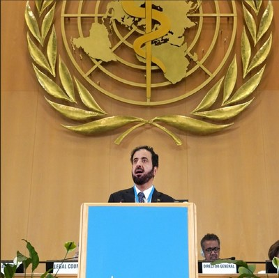 H. E. Dr. Tawfig AlRabiah, Saudi Minister of Health, addressing the 72nd World Health Assembly in Geneva.
