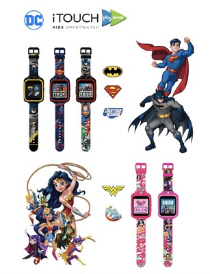 The iTOUCH PlayZoom is a children's smartwatch that will feature special edition prints of iconic DC Super Heroes including Batman, Superman, Wonder Woman, DC Super Hero Girls and Justice League. The kid's smartwatch features fun learning games, a swivel camera for photos and videos including creative photo effects and custom DC backgrounds, while interactively encouraging children to grow and develop independence with an alarm clock, stopwatch, timer, and voice recorder features. The iTOUCH Pla