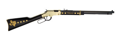 The Henry Texas Tribute Edition rifle features a deep black stain on the wood stocks and inlaid metal stars.