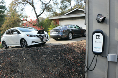The HCS-D40P charging a Nissan Leaf and Tesla Model S. The dual charging station charges both vehicles simultaneously, automatically splitting power between them.