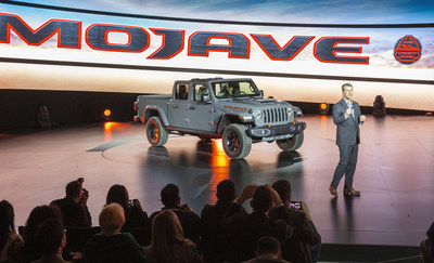 The new 2020 Jeep Gladiator Mojave was unveiled today at the 2020 Chicago Auto Show by Jim Morrison, Head of Jeep Brand, FCA - North America. Gladiator Mojave is the Jeep brand's first-ever Desert Rated vehicle, signifying the ultimate in high-speed off-road capability and performance for traversing grueling desert and sand environments.