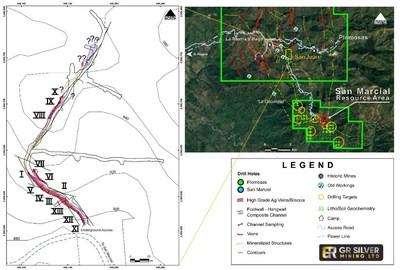 Figure 1- Location – Underground Workings – Channel Sampling San Juan Vein (CNW Group/GR Silver Mining Ltd.)