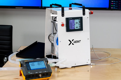 The Breathe Strong XVENT emergency ventilator by Enexor BioEnergy. The XVENT utilizes a precision machined piston system controlled by an industrial-grade programmable logic computer (PLC).