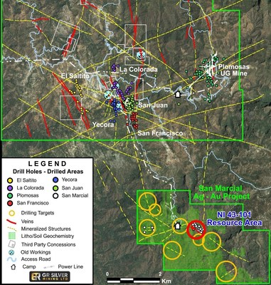 Figure 2: San Marcial Project – Location of Resource Area and Other Drill Targets (CNW Group/GR Silver Mining Ltd.)