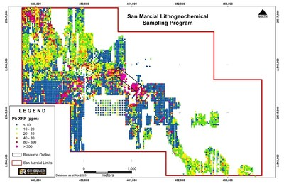 Figure 6: San Marcial – Litho-geochemical Results (Pb) and Faisanes-Mariposa Trend (CNW Group/GR Silver Mining Ltd.)