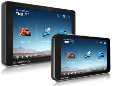 Rand McNally's new TND 750 and 550 truck navigation devices with Rand Navigation 2.0 software
