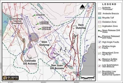 Figure 1: San Juan-La Colorada Area Geology – Drill Hole Location Map (CNW Group/GR Silver Mining Ltd.)