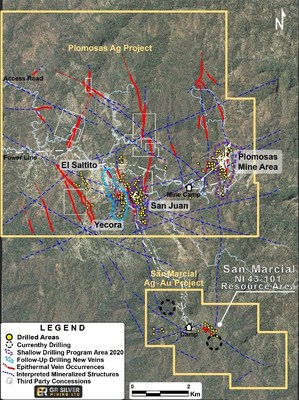 Figure 1: Location of Drilling Areas at the Plomosas and San Marcial Projects (CNW Group/GR Silver Mining Ltd.)