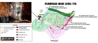 Figure 2: Level 775 RL – Room and Pillar Stopes – Underground Saw Channel Sampling Diagram Sampling Location (CNW Group/GR Silver Mining Ltd.)