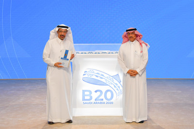 G20 representative and Saudi Minister of Investment, His Excellency Khalid Abdulaziz Al-Falih receives B20 Saudi Arabia's policy recommendations from Chair Mr. Yousef Al-Benyan