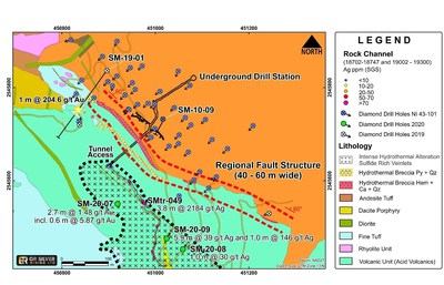 Figure 1: San Marcial – Gold and Silver Exploration Results in Lower Acid Volcanic Zone (CNW Group/GR Silver Mining Ltd.)