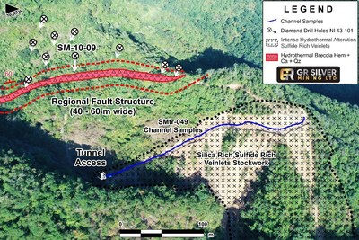 Figure 2: Drone Image - Road Sampling – NI 43-101 Resource Area (CNW Group/GR Silver Mining Ltd.)
