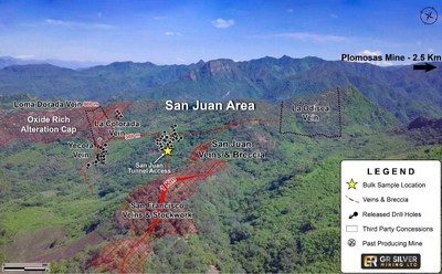 Figure 2: Drone Image of the San Juan Area – Location of Underground Sampling (CNW Group/GR Silver Mining Ltd.)