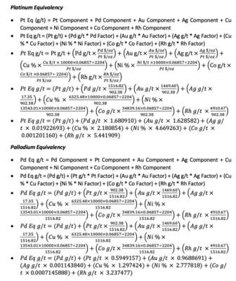 Platinum and Palladium Equivalencies (CNW Group/Clean Air Metals Inc.)