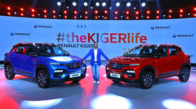 Mr. Venkatram Mamillapalle, Country CEO & Managing Director, Renault India Operations unveiling the Renault KIGER at the Global Reveal in New Delhi.