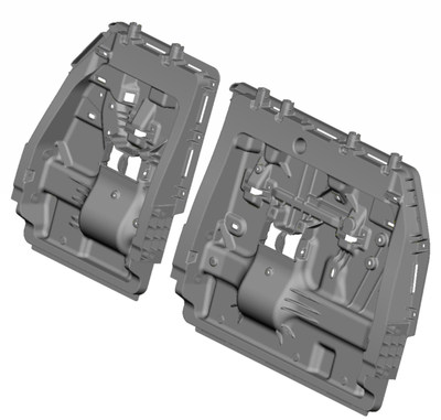2020 winner: Toyota created a free standing two occupant injection molded back-frame with no molded reinforcement for the 2021 Sienna. It consolidated 15 components to one part with one injection, driving down costs by 15%, reducing mass by 30% and improving safety performance by two times.