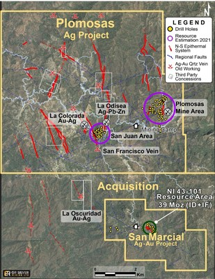Figure 2: Plomosas Project - Location Map of 9 Mineralized Corridors (CNW Group/GR Silver Mining Ltd.)
