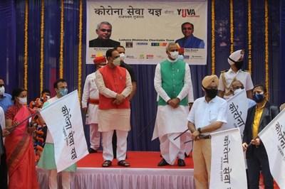 L to R Jayanti Ravi, Amitabh Shah, Vijay Rupani, Acharya Devvrat at Rajbhavan Gujarat