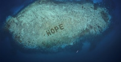 SHEBA Hope Reef, which can be seen on Google Earth, has been regrown to spell the word 'HOPE' to drive awareness and show how positive change can happen within our lifetime; Salisi' Besar, Indonesia; AUG 2020 (PRNewsfoto/Mars, Incorporated.)
