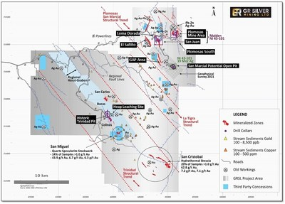 Figure 1: District Scale Ag-Au System Covering Three Key Trends – the Plomosas-San Marcial, La Tigra and Trinidad Structural Trends (CNW Group/GR Silver Mining Ltd.)