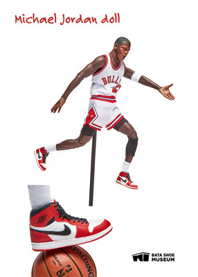 """Michael Jordan doll and miniature sneakers on display in """"All Dolled Up: Fashioning Cultural Expectations"""". Image © 2021 Bata Shoe Museum, Toronto, Canada (photo: Kailee Mandel). (CNW Group/Bata Shoe Museum)"""