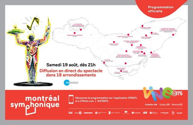 Map of the boroughs which will broadcast the Montréal Symphonique event (CNW Group/Société des célébrations du 375e anniversaire de Montréal)