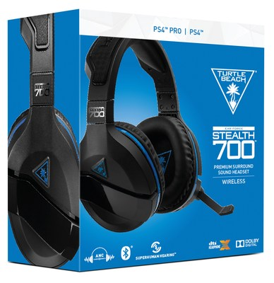 The Turtle Beach Stealth 700 for PlayStation 4 delivers a ton of features, including wireless game & chat audio, powerfully immersive DTS Headphone:X 7.1 surround sound, active noise-cancellation, Bluetooth connectivity with app-based settings, plus Turtle Beach's innovative and comfort-driven ProSpecs glasses friendly design and exclusive Superhuman Hearing sound setting for a competitive advantage, and much more...all for a MSRP of $149.95.